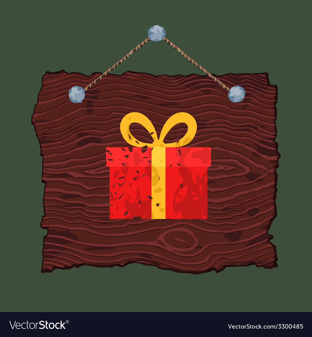 Wooden sign with gift vector | Price: 1 Credit (USD $1)