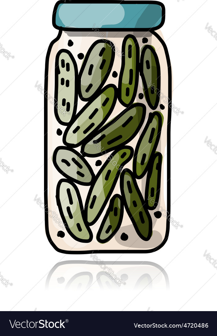 Bank of pickled cucumber sketch for your design vector | Price: 1 Credit (USD $1)