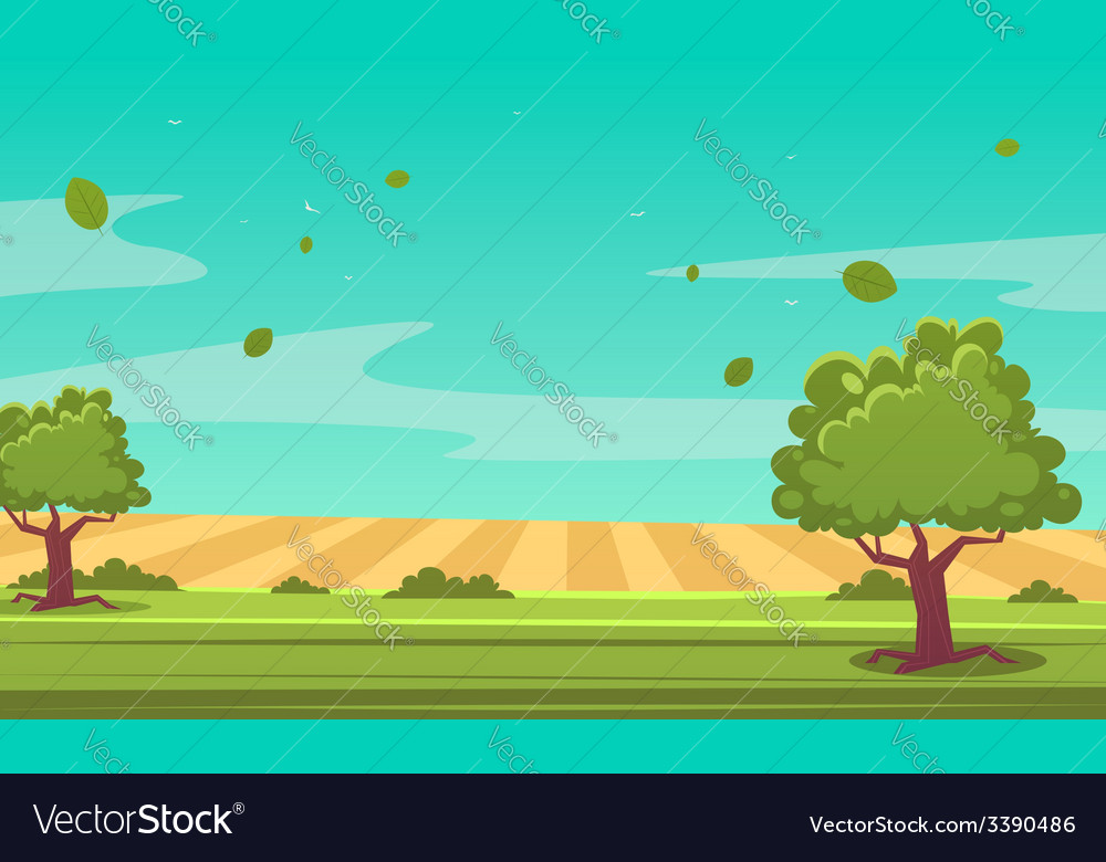 Cartoon summer landscape vector | Price: 1 Credit (USD $1)