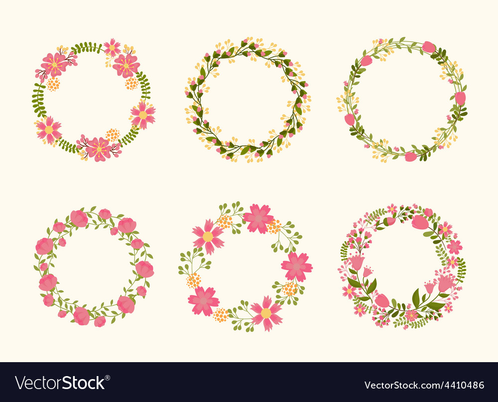 Cute wreath frames for wedding invitations vector
