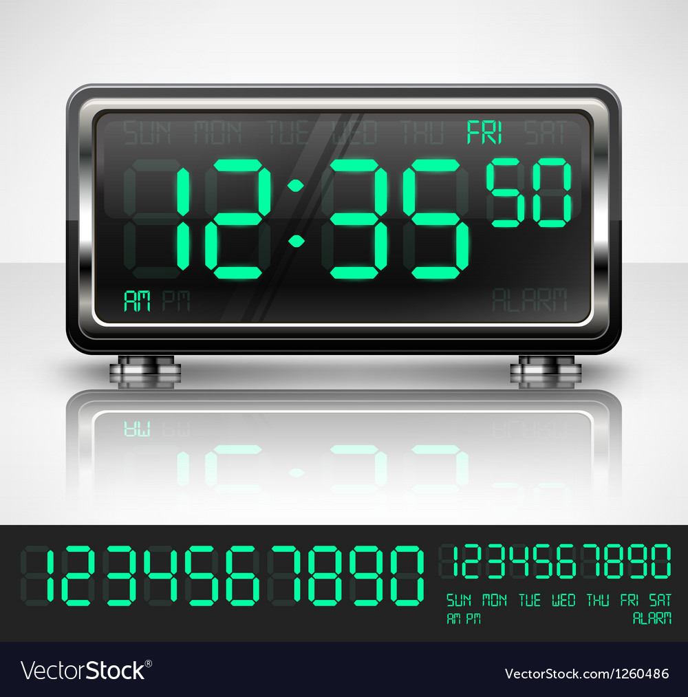 Digital watch on white vector | Price: 1 Credit (USD $1)