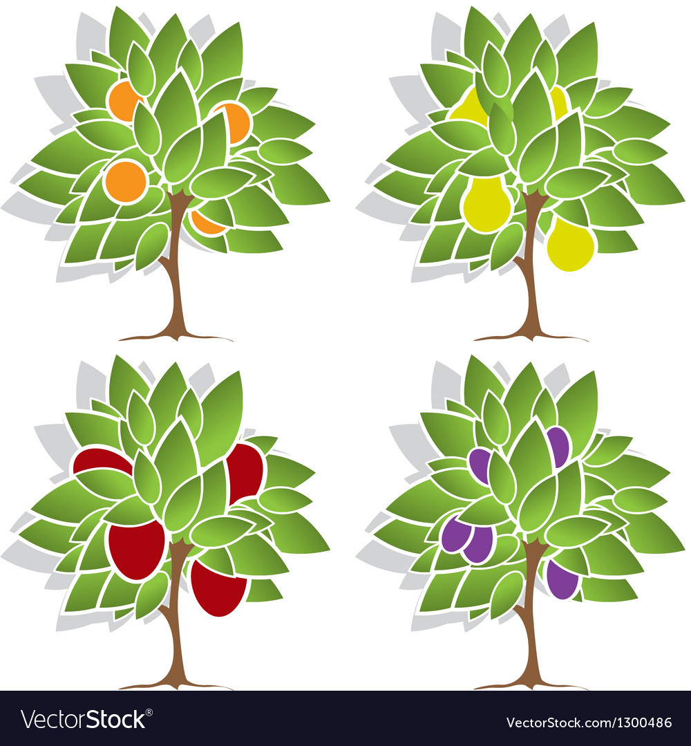 Four fruit trees vector | Price: 1 Credit (USD $1)
