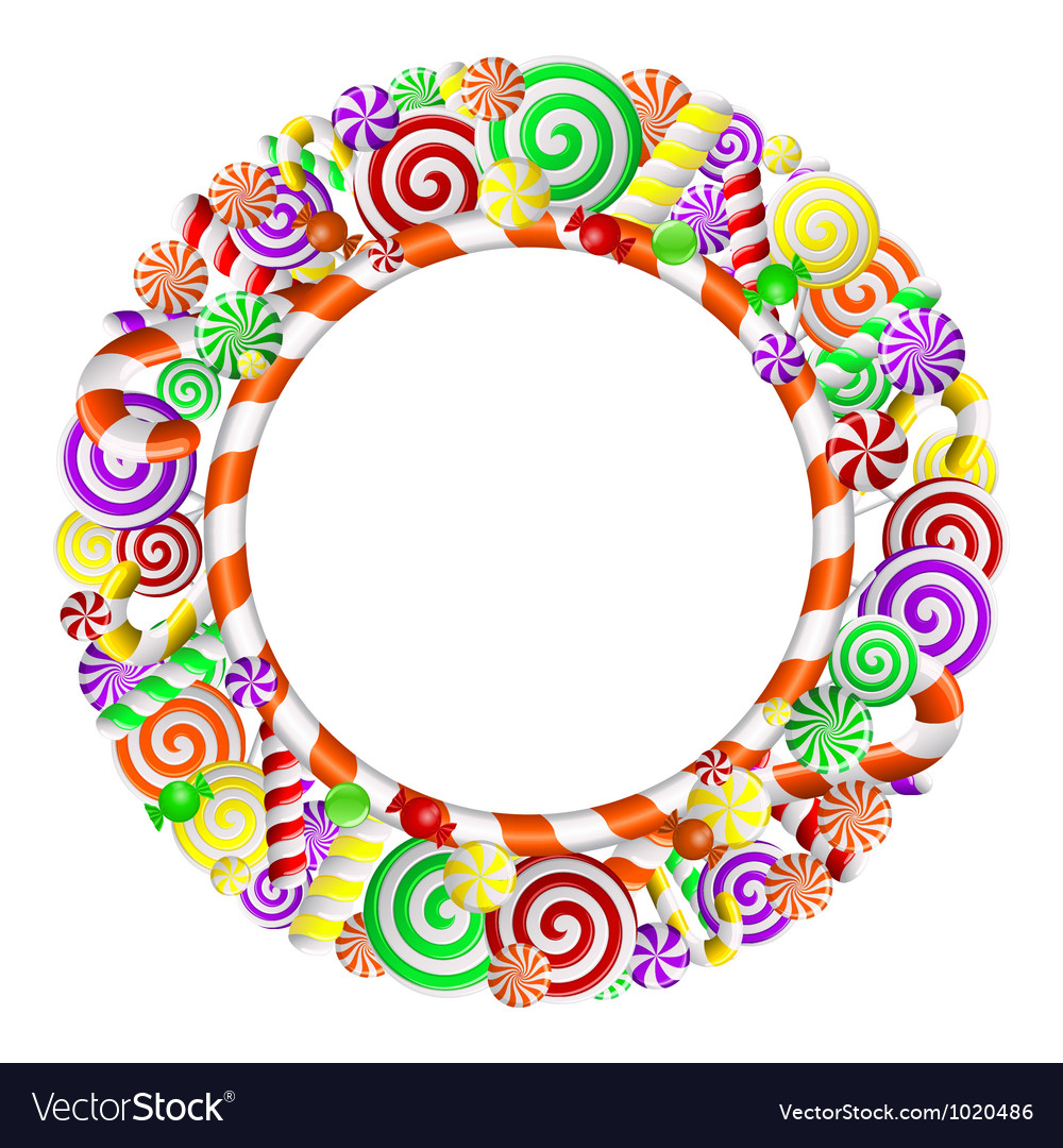 Frame with colorful candies vector | Price: 1 Credit (USD $1)