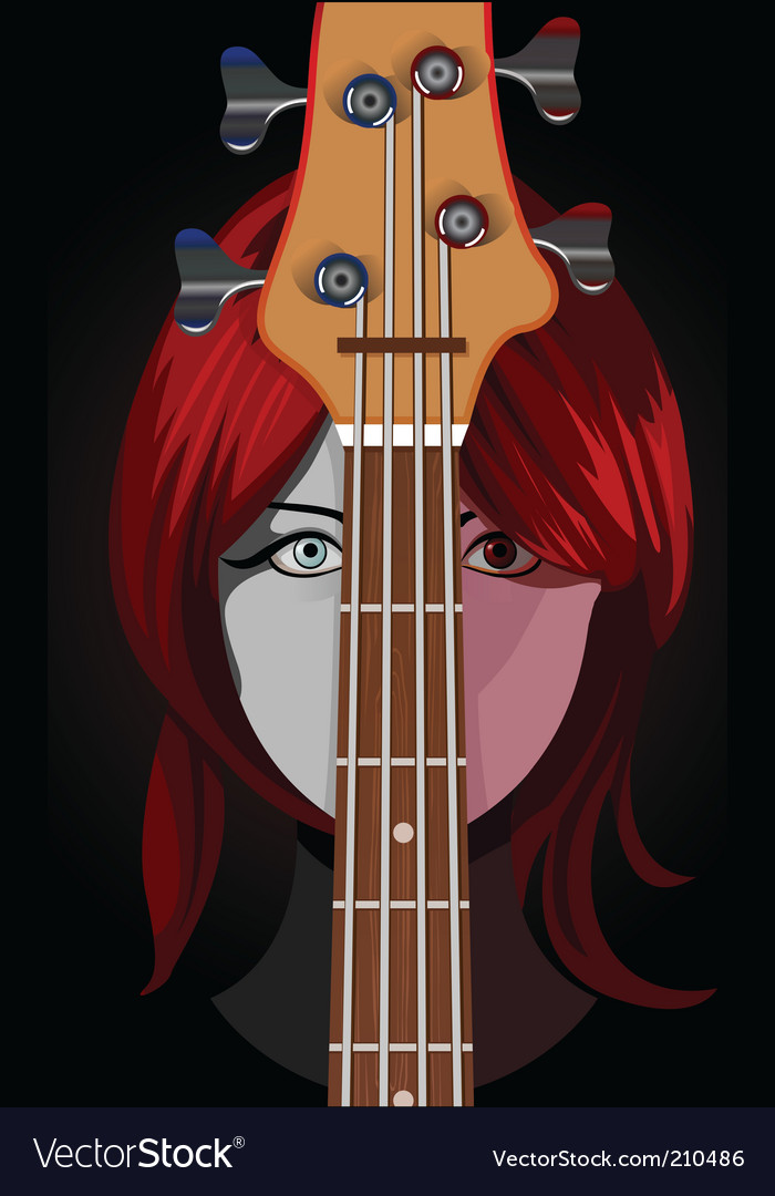 Girl with guitar vector | Price: 5 Credit (USD $5)