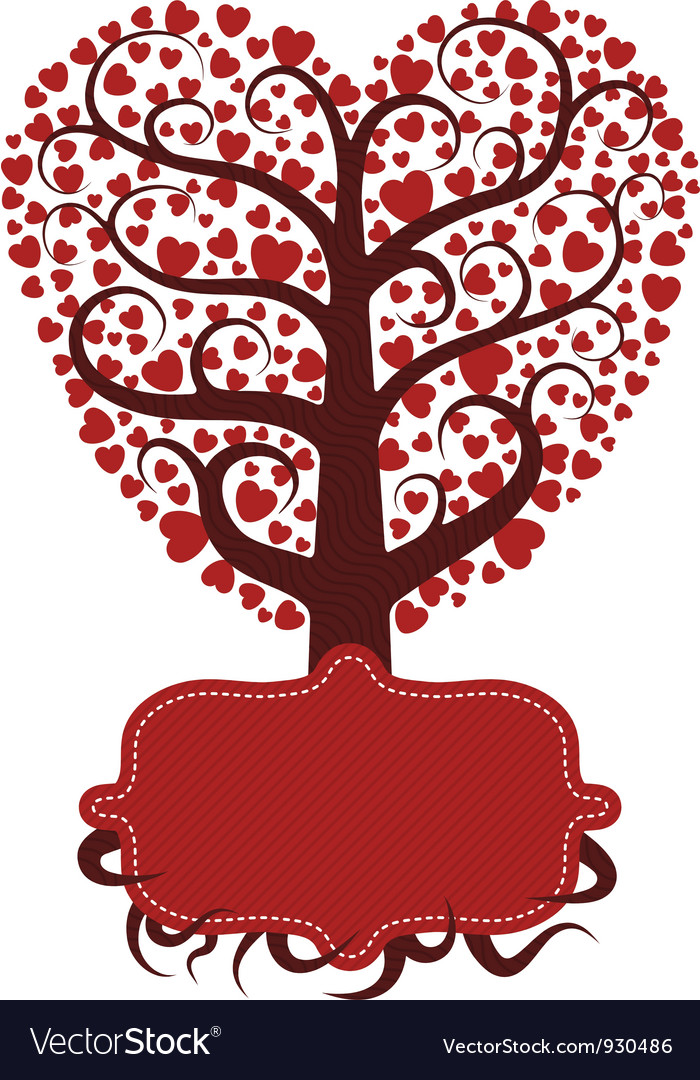 Love tree with banner vector | Price: 1 Credit (USD $1)