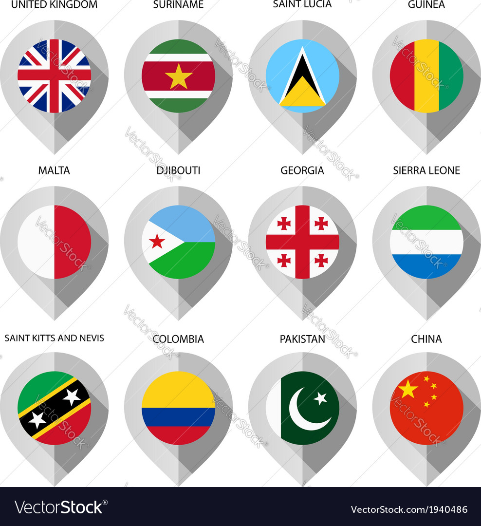Marker from paper with flag for map - set fourth vector | Price: 1 Credit (USD $1)