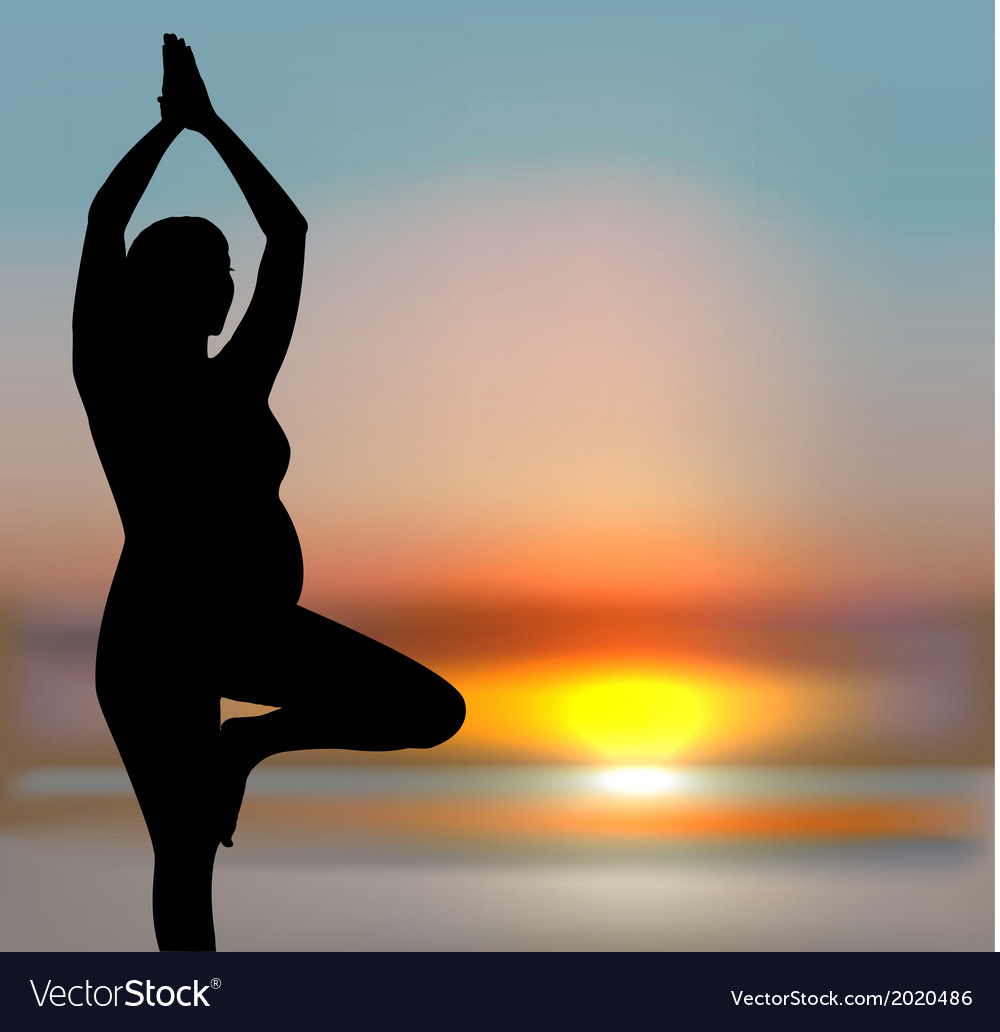 Pregnant woman in yoga position vector