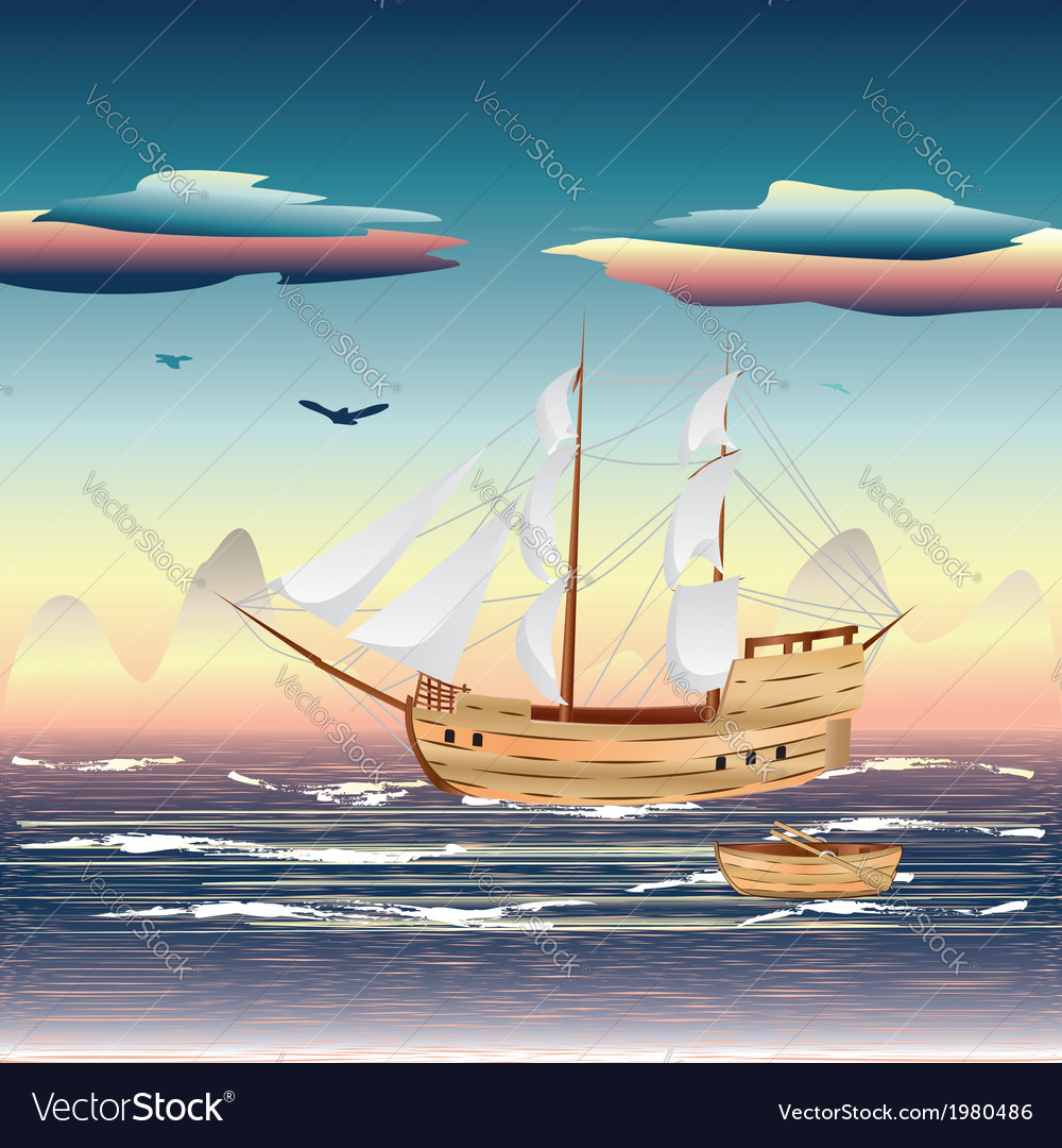 Sailing ship on the sea vector | Price: 1 Credit (USD $1)