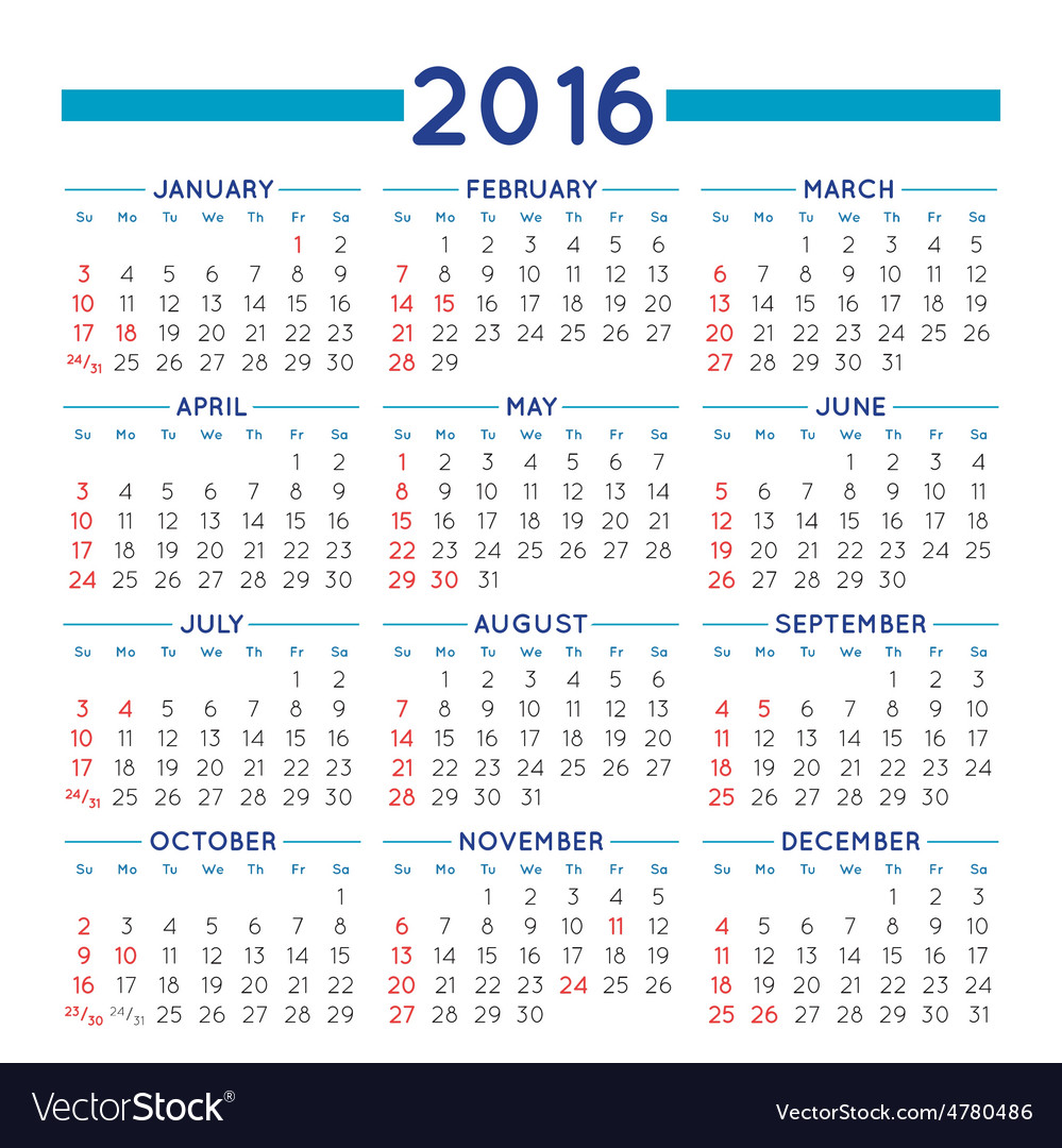 Squared 2016 calendar vector | Price: 1 Credit (USD $1)
