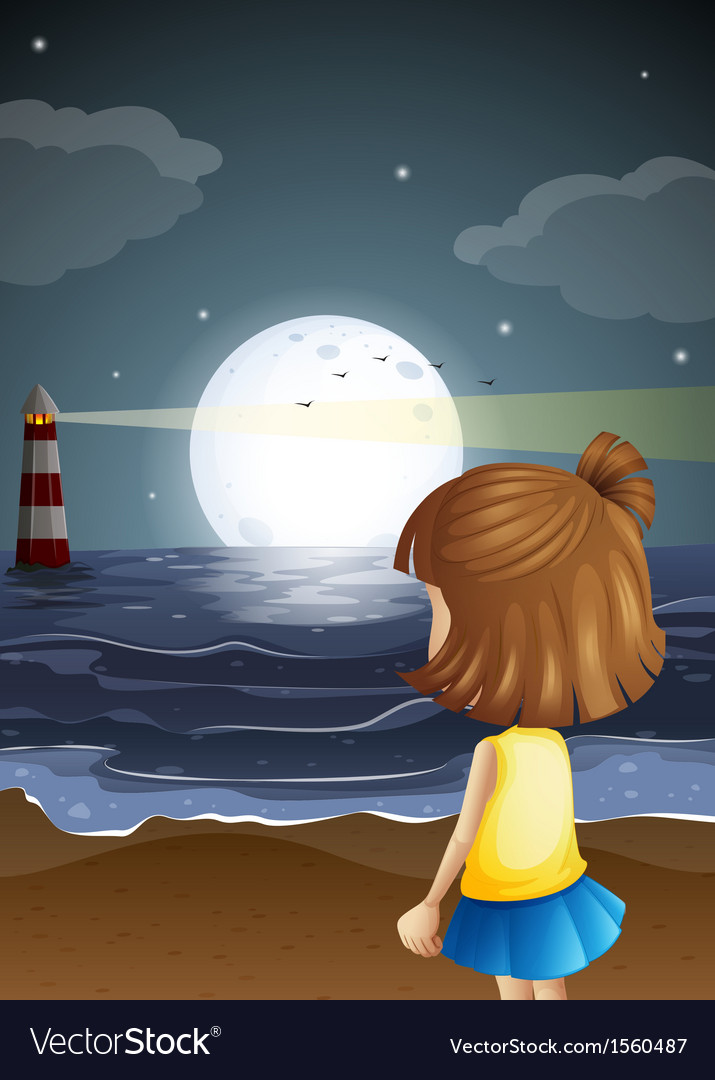 A small girl at the beach watching the lighthouse vector | Price: 3 Credit (USD $3)