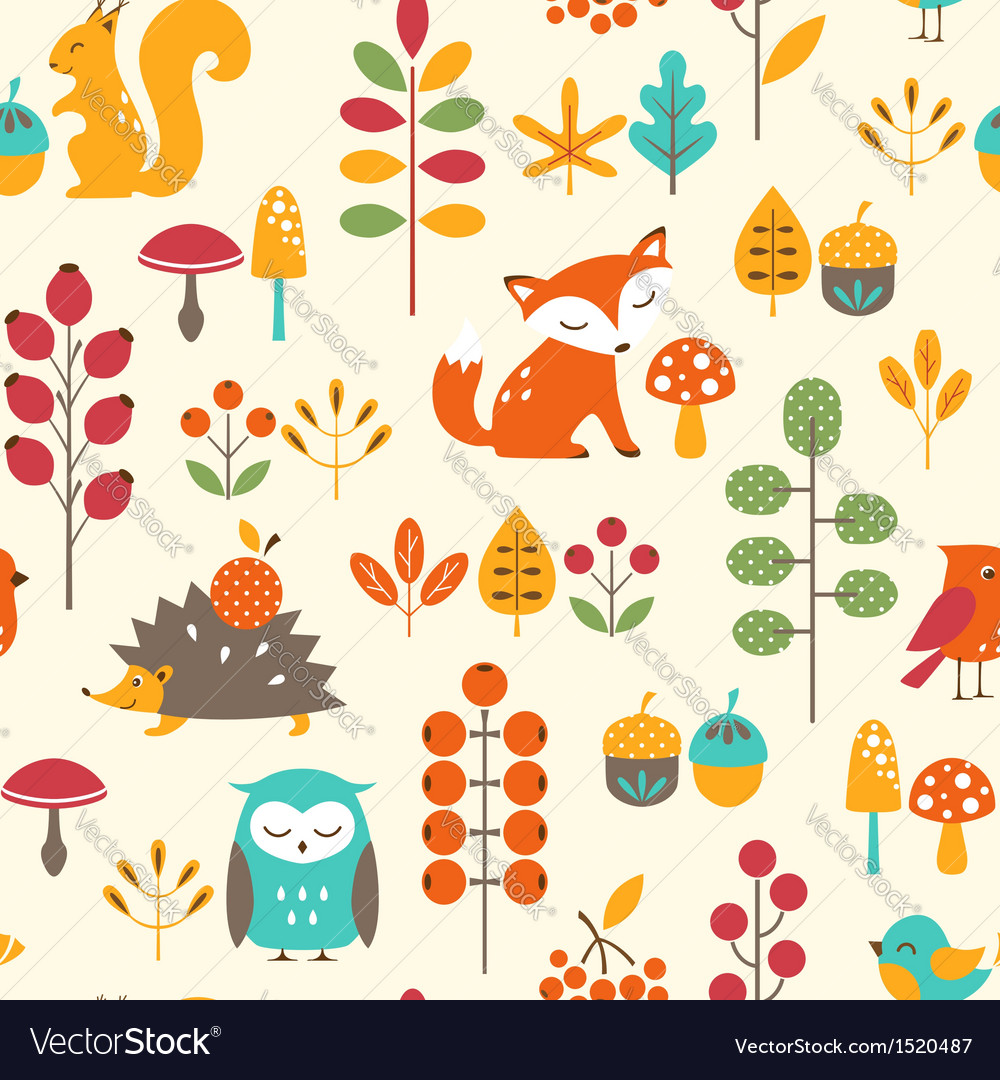 Cute autumn pattern vector | Price: 3 Credit (USD $3)