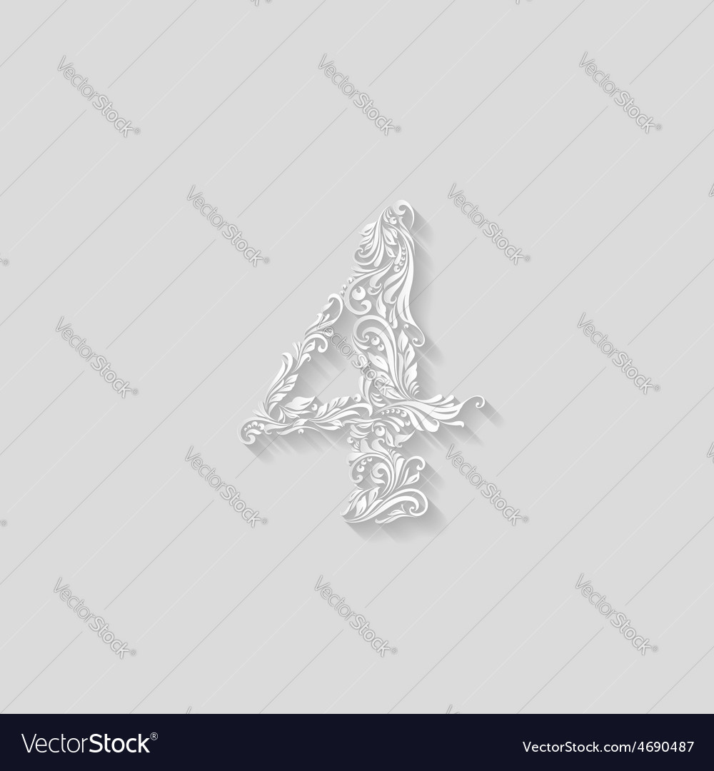 Decorated four digit vector | Price: 1 Credit (USD $1)
