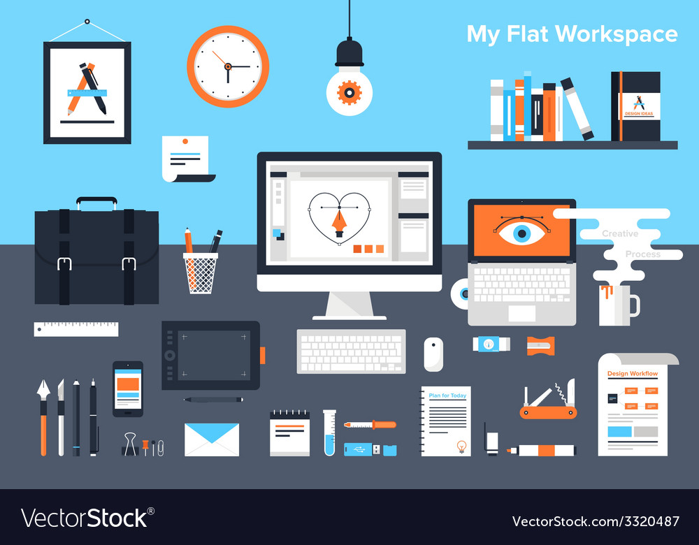 Designer workplace vector | Price: 1 Credit (USD $1)