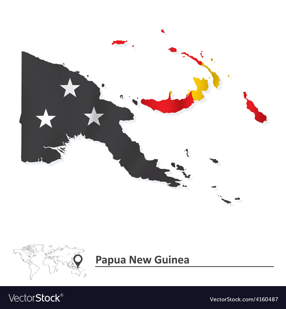 Map of papua new guinea with flag vector | Price: 1 Credit (USD $1)