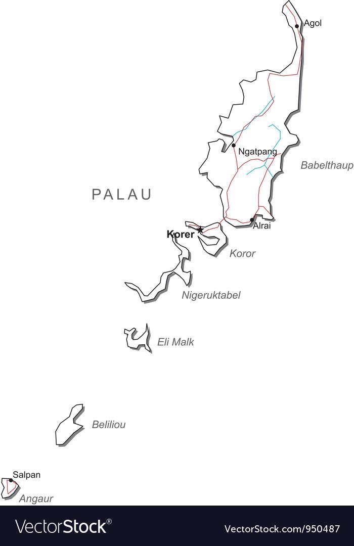 Palau black white map vector | Price: 1 Credit (USD $1)