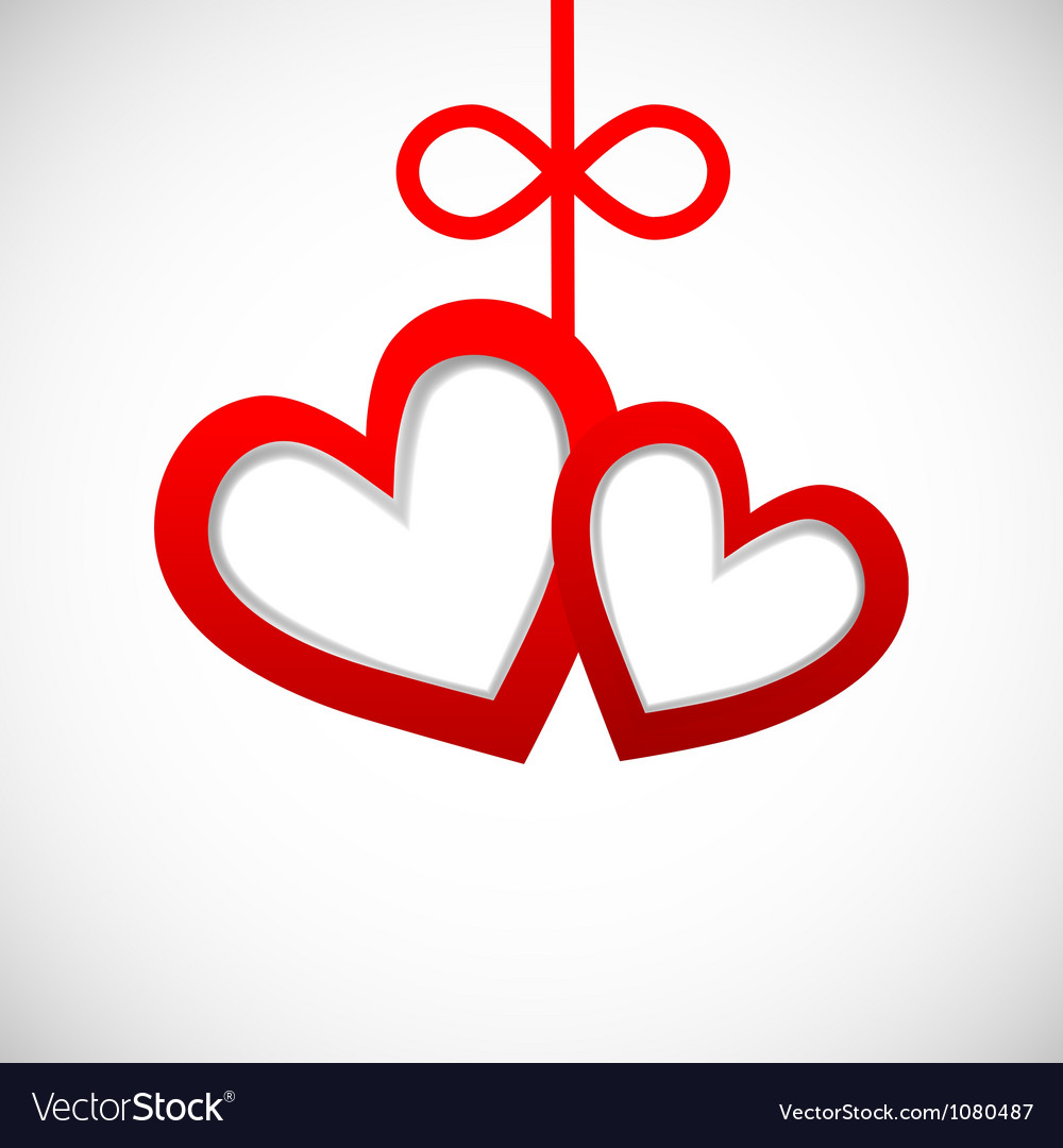 Paper banner two hearts on white background vector | Price: 1 Credit (USD $1)