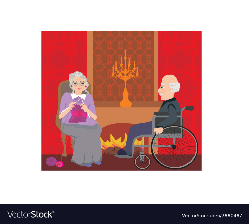 Senior couple resting at home vector | Price: 1 Credit (USD $1)