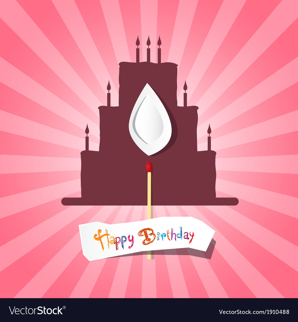 Birthday background with cake silhouette vector | Price: 1 Credit (USD $1)