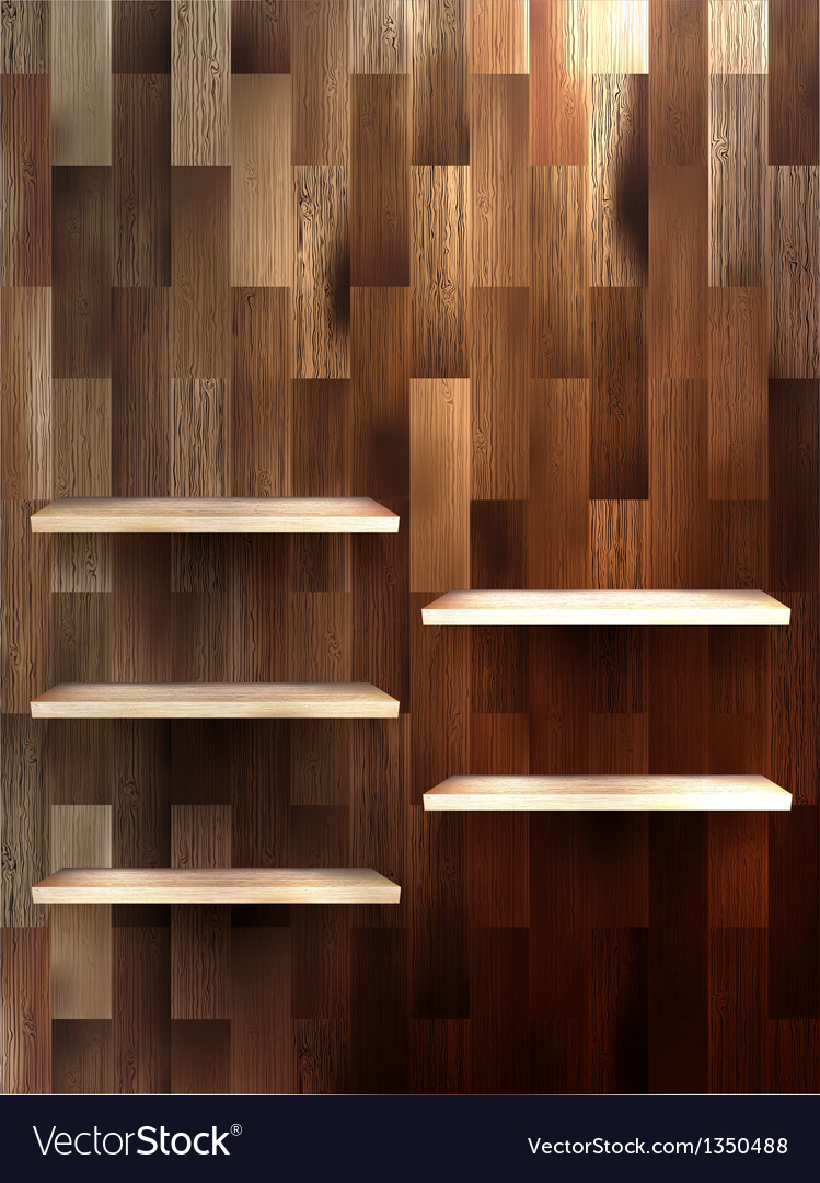 Empty shelf for exhibit on wood background eps 10 vector   Price: 1 Credit (USD $1)