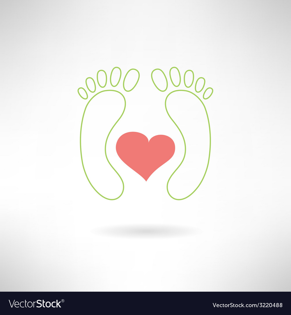 Feet massage sign and feet logo with heart vector | Price: 1 Credit (USD $1)