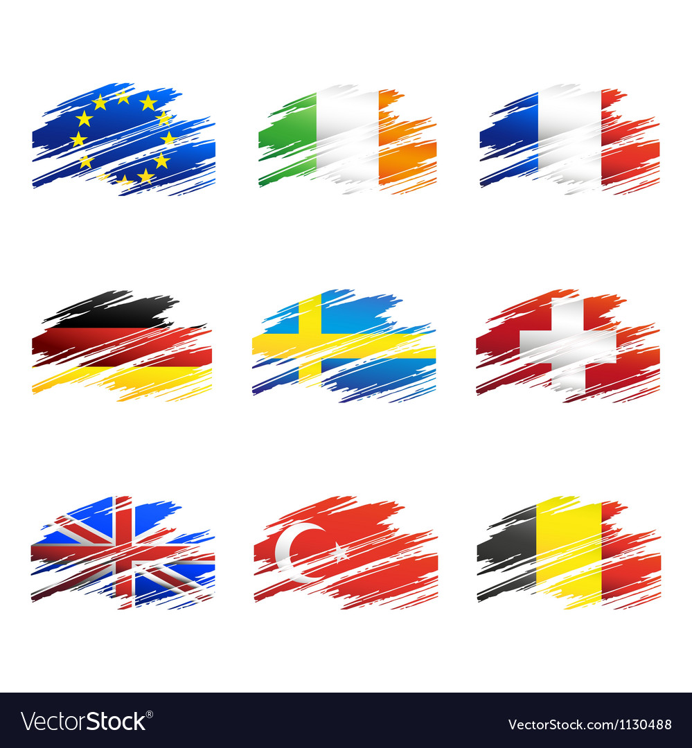 Flags in the form traces brush vector   Price: 1 Credit (USD $1)