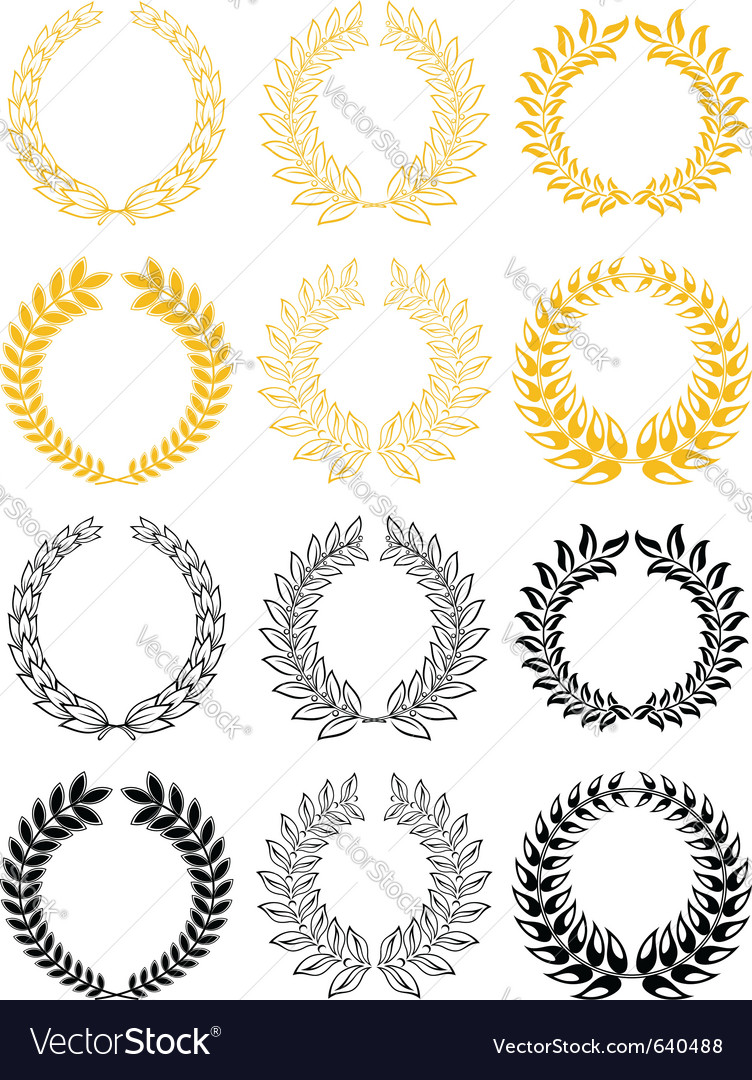 Gold and black laurel wreaths vector | Price: 1 Credit (USD $1)