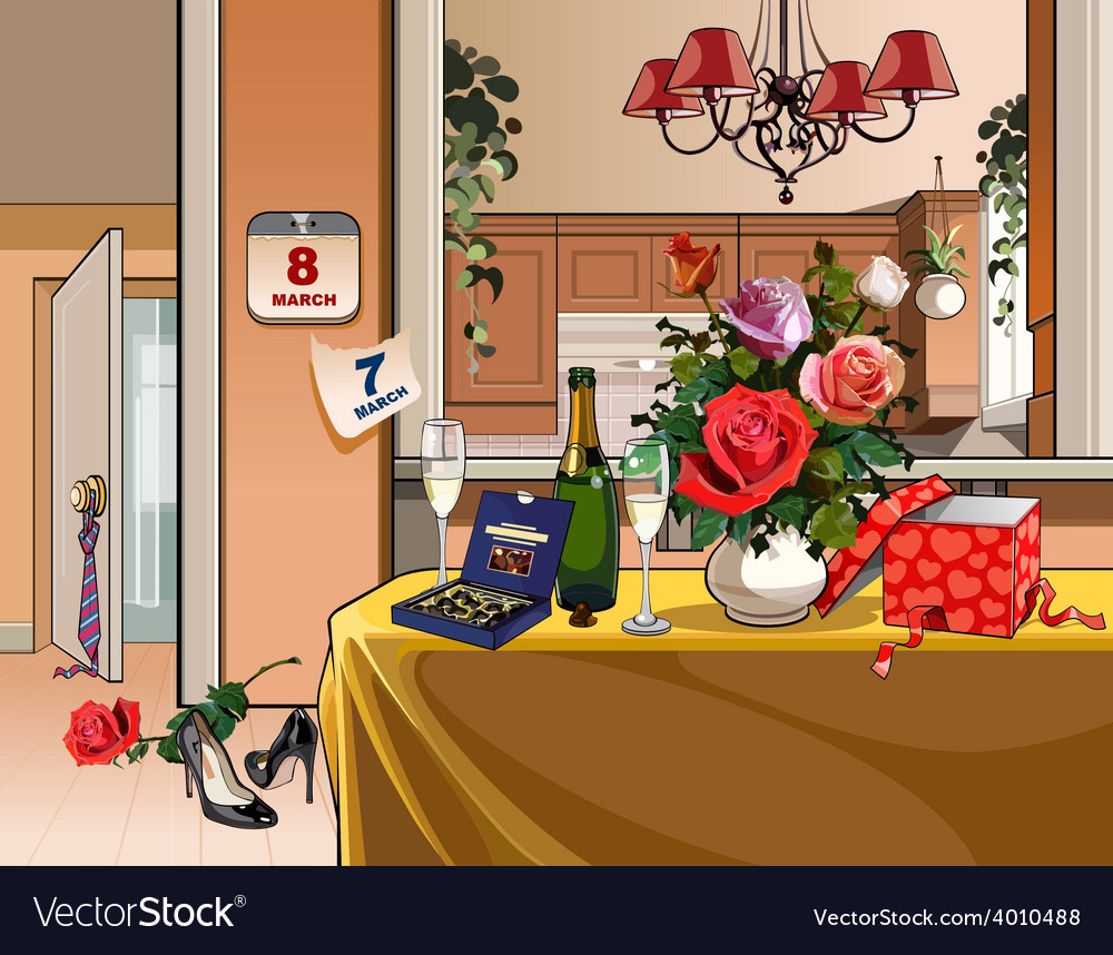 Interior room with dinner table for a holiday vector | Price: 3 Credit (USD $3)