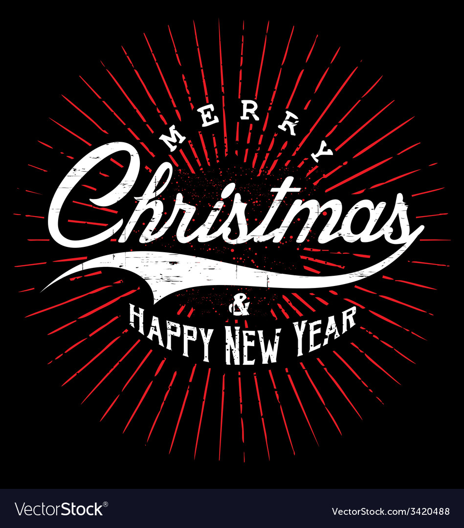 Merry christmas happy new year typography vector | Price: 1 Credit (USD $1)