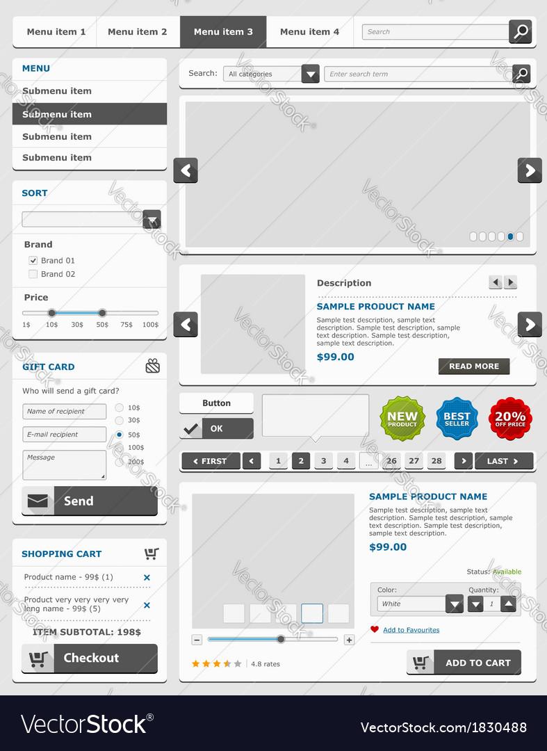 Online shop elements set vector | Price: 1 Credit (USD $1)