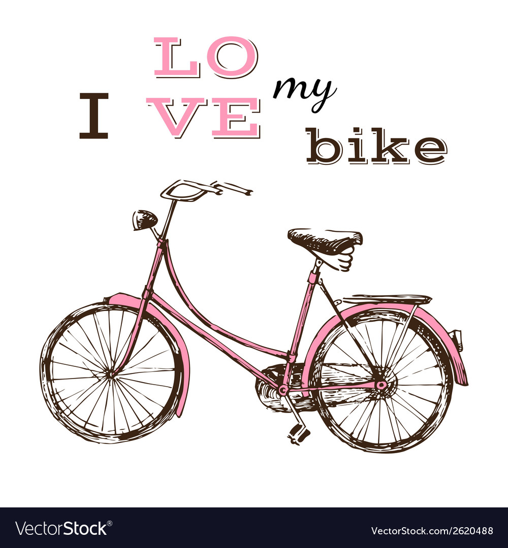 Poster with hand drawn bicycle vector | Price: 1 Credit (USD $1)