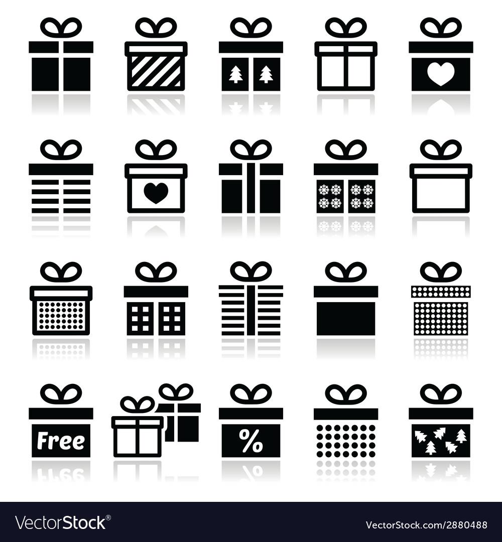 Present gift box icons set vector | Price: 1 Credit (USD $1)