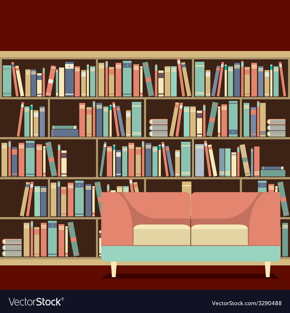 Reading seat in front of a bookcase vector | Price: 1 Credit (USD $1)