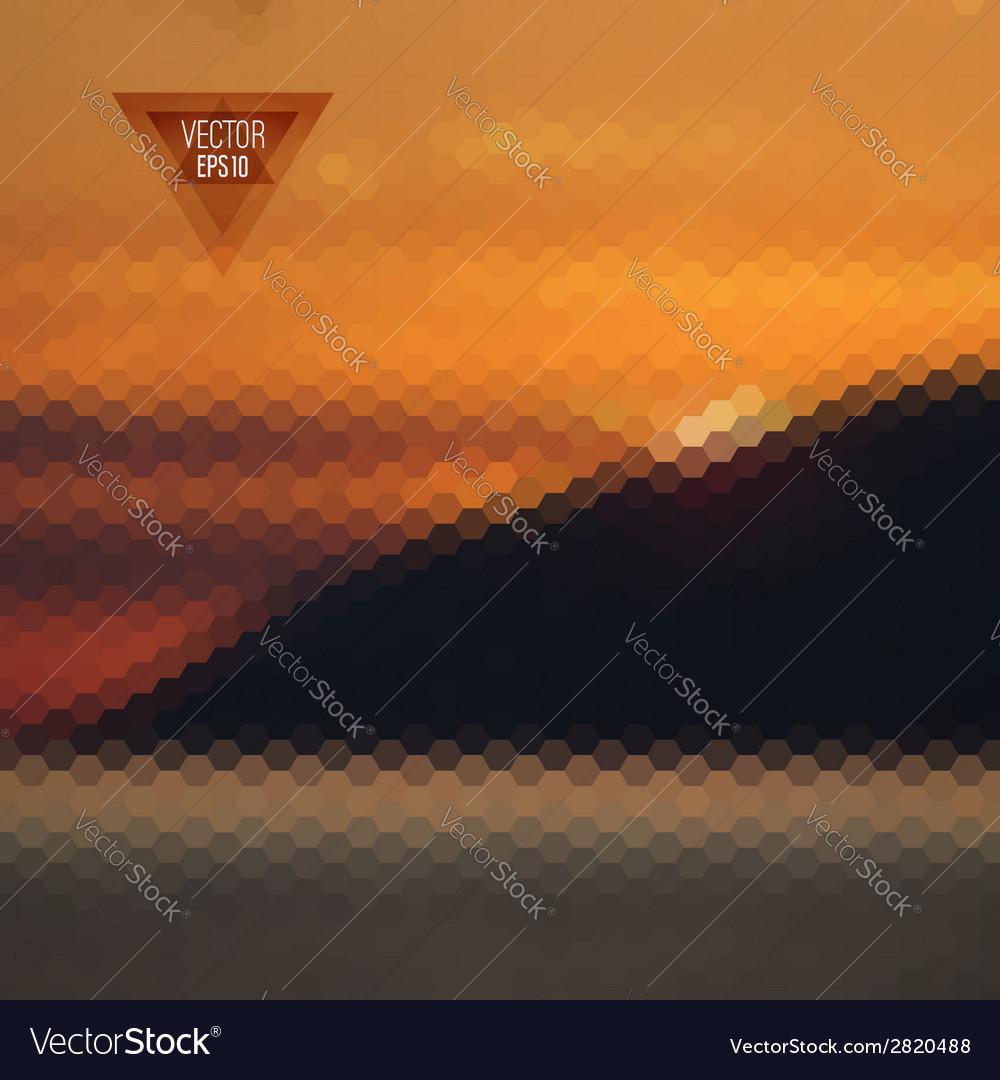 Retro landscape pattern of geometric shapes vector | Price: 1 Credit (USD $1)