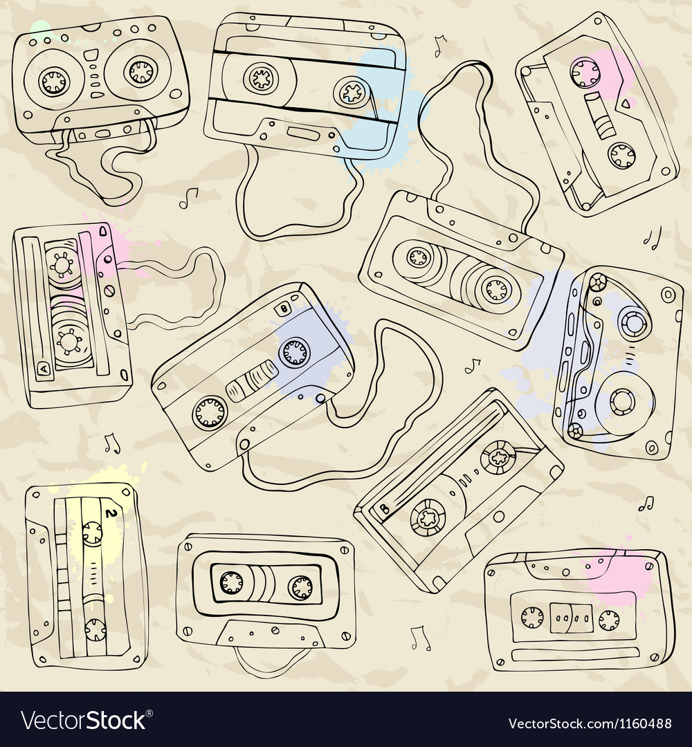 Set of retro cassette tapes vector | Price: 1 Credit (USD $1)
