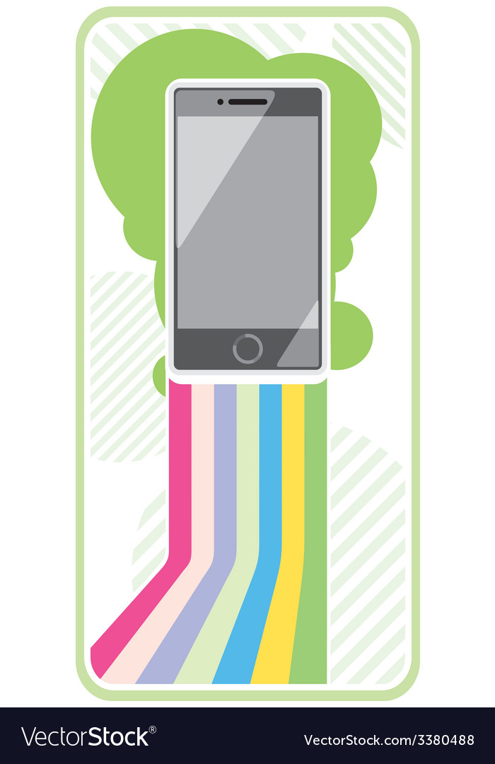 Smartphone on stylish background bands of lines vector | Price: 1 Credit (USD $1)