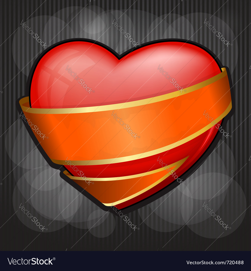 Valentines day heart wrapped in orange ribbon eps vector | Price: 1 Credit (USD $1)