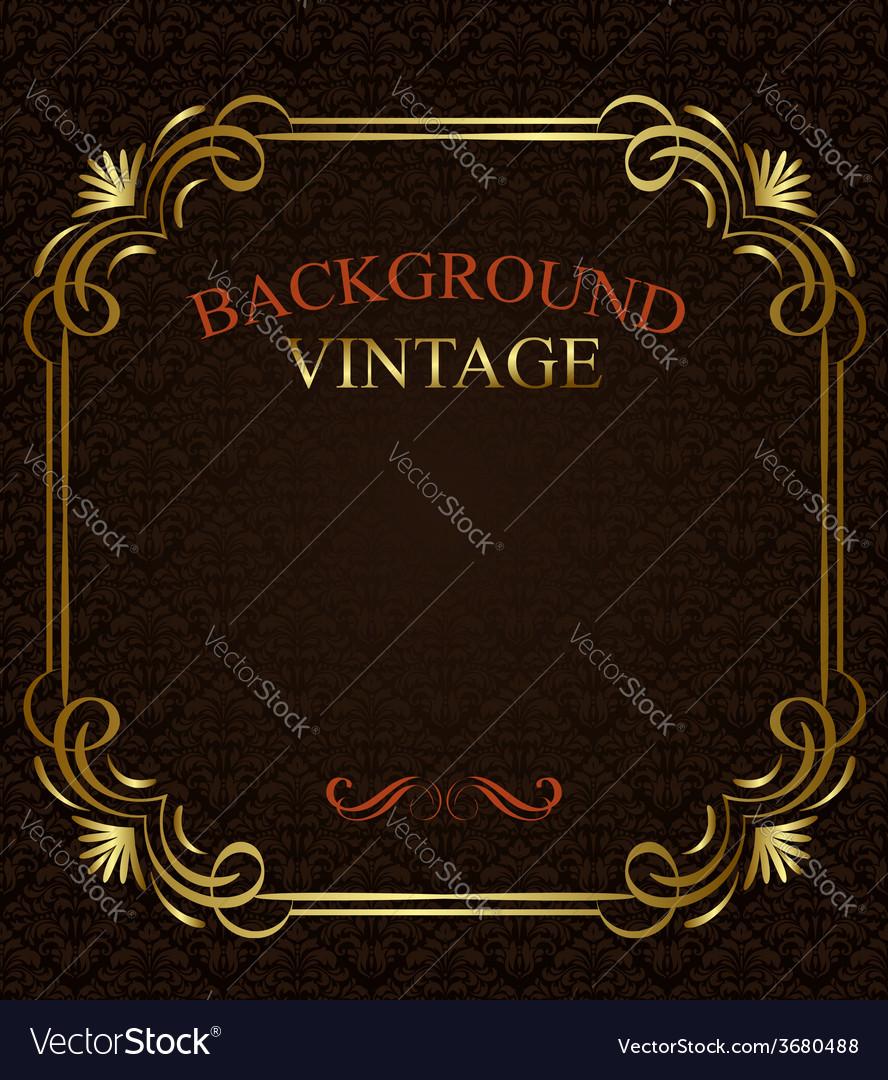 Vintage background with golden frame vector | Price: 1 Credit (USD $1)
