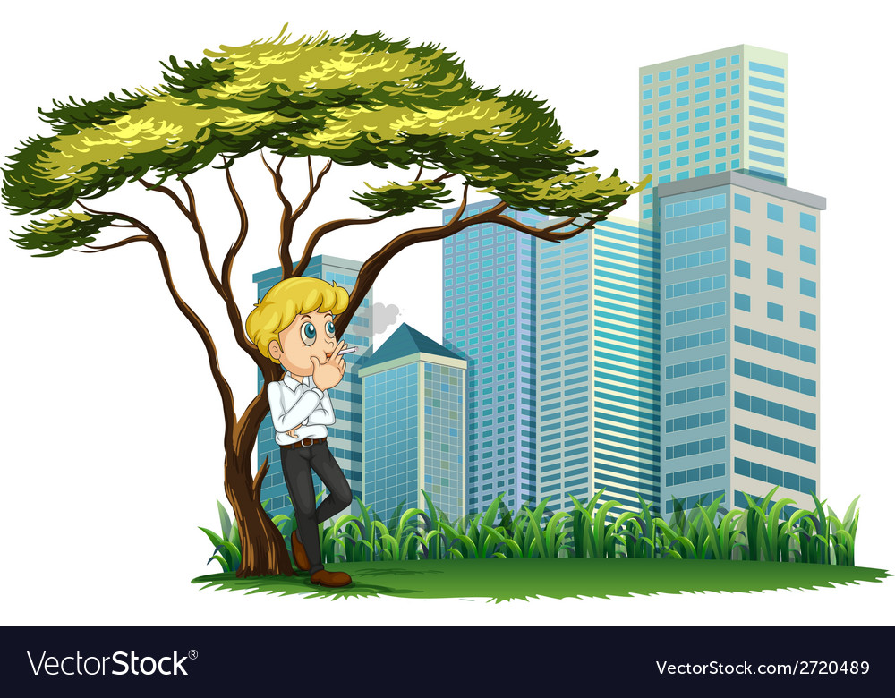 A man smoking under the tree across the buildings vector | Price: 1 Credit (USD $1)