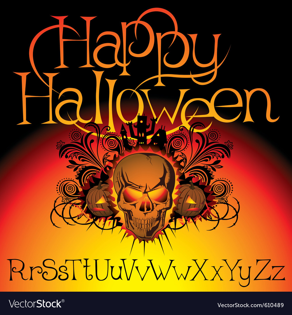 Angry halloween skull with bats and witch vector | Price: 1 Credit (USD $1)