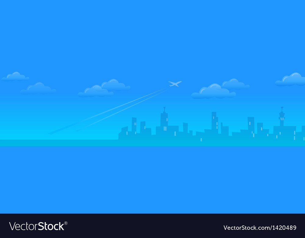 Cityskyline with plane departing vector | Price: 1 Credit (USD $1)
