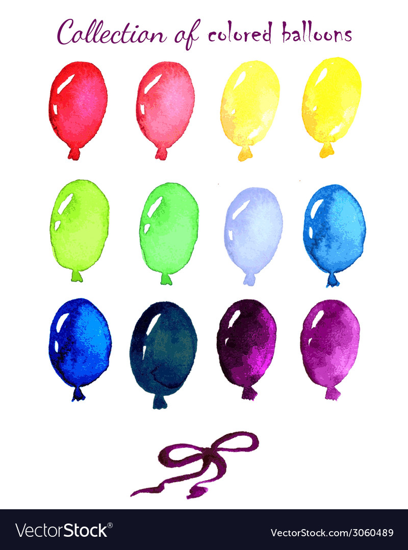Collection of colored balloons painted live vector | Price: 1 Credit (USD $1)