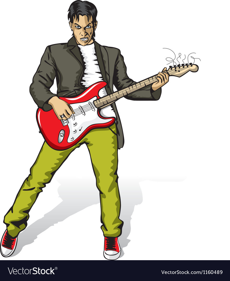 Punk with the guitar vector | Price: 1 Credit (USD $1)