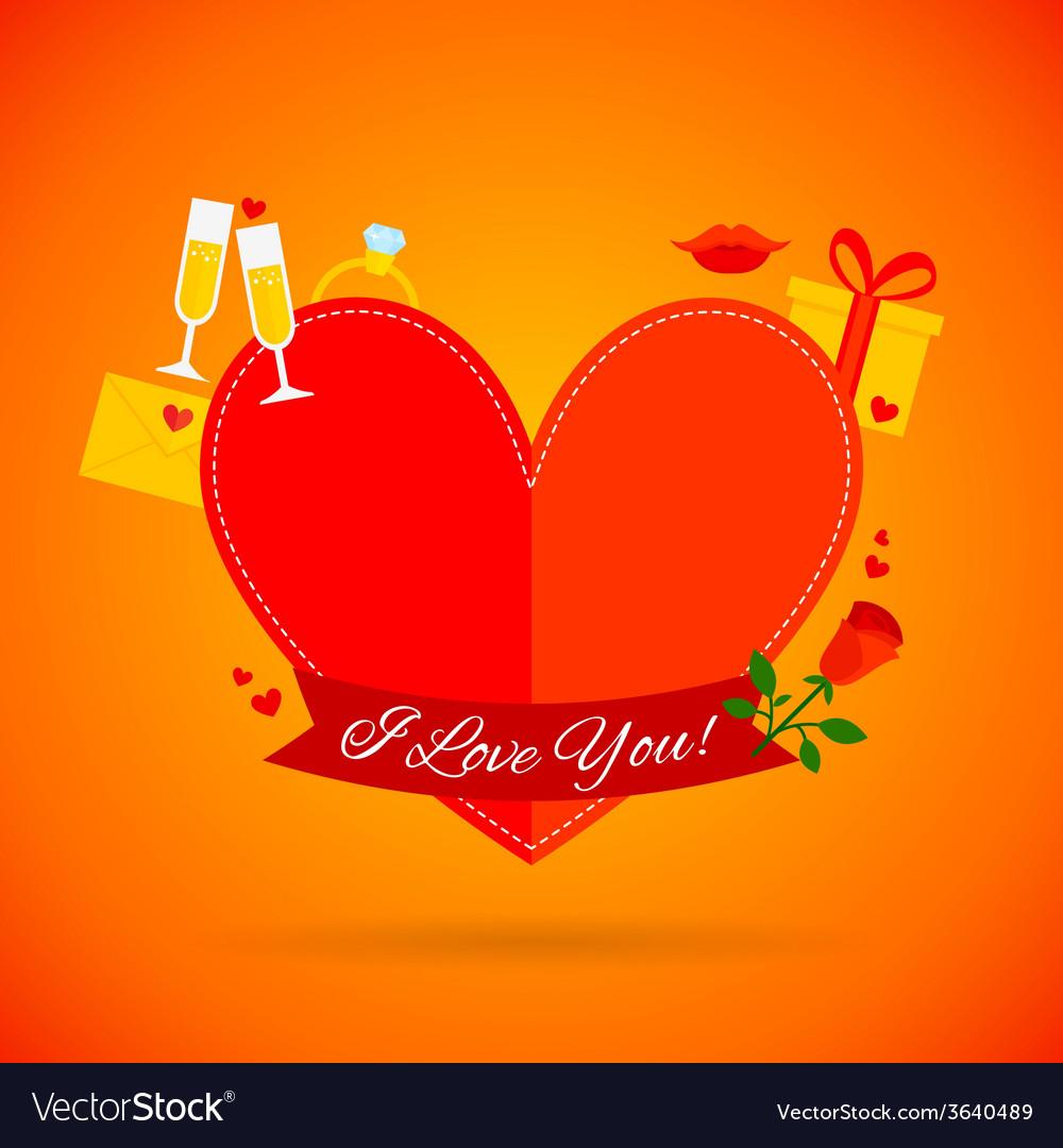 Romantic love card vector   Price: 1 Credit (USD $1)