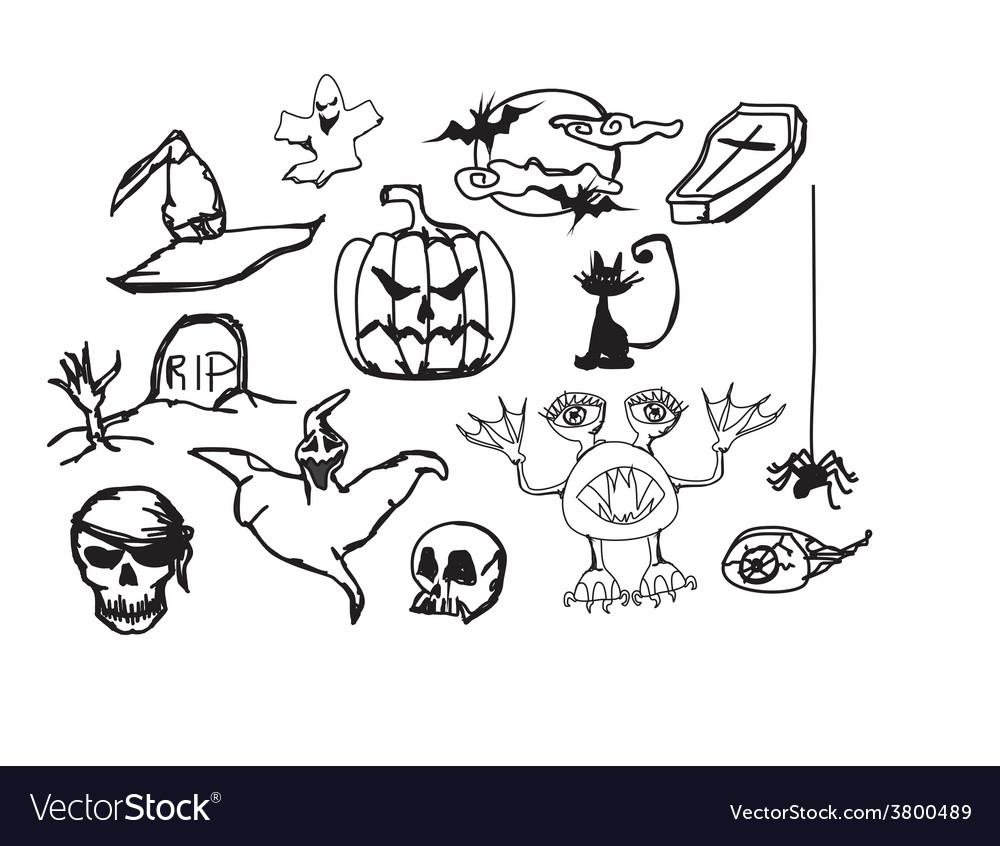 Set with halloween doodles vector | Price: 1 Credit (USD $1)