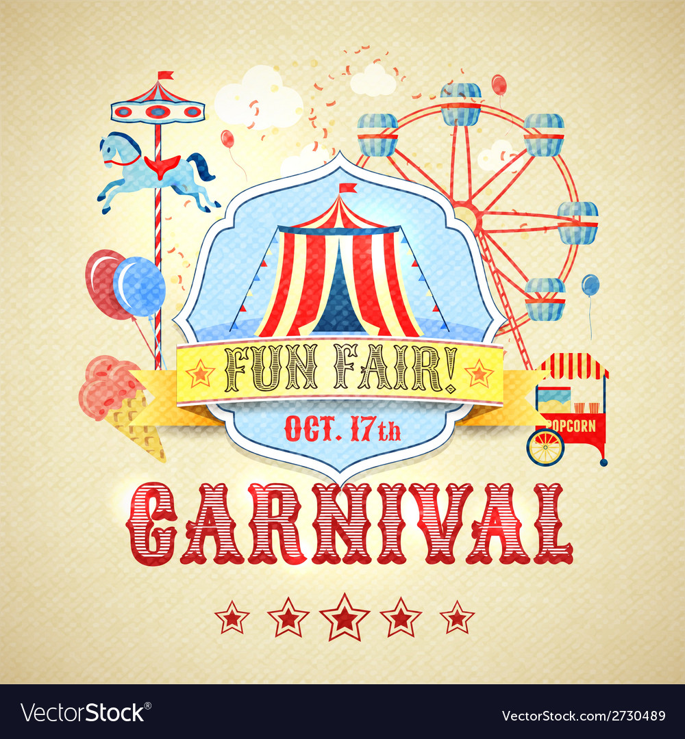 Vintage carnival poster vector | Price: 1 Credit (USD $1)