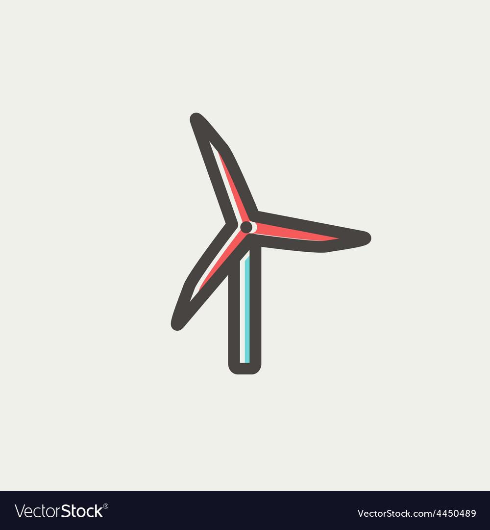Windmill thin line icon vector