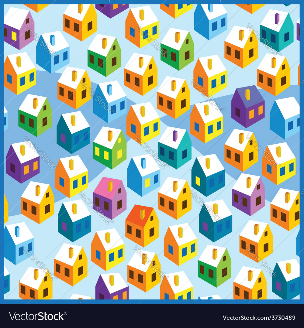 Winter houses pattern vector | Price: 1 Credit (USD $1)