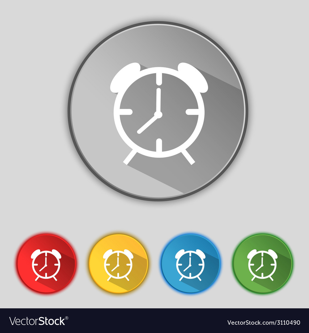 Alarm clock sign icon wake up alarm symbol set of vector | Price: 1 Credit (USD $1)