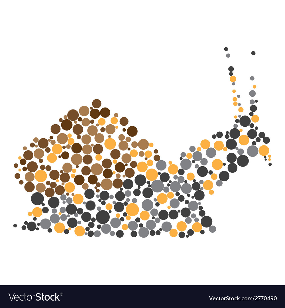 Dotted colorful snail silhouette vector | Price: 1 Credit (USD $1)