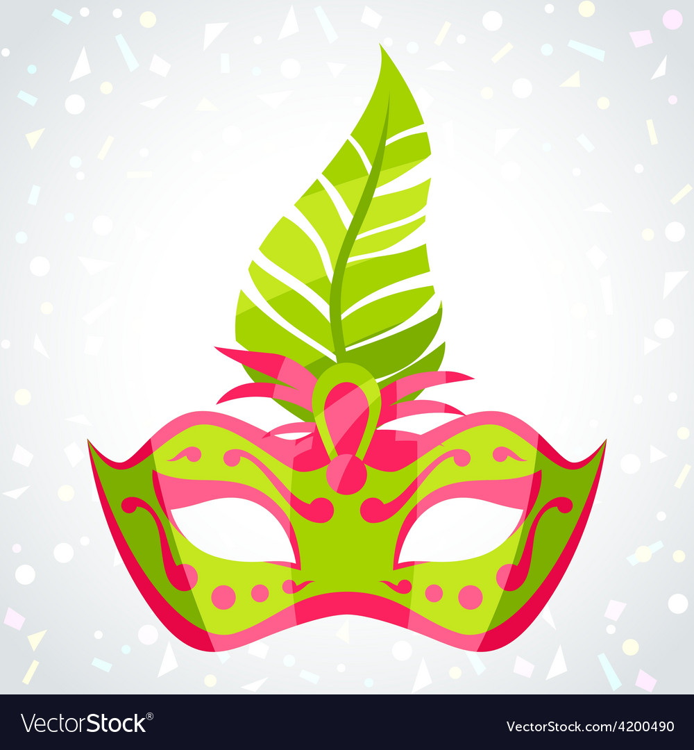 Festive carnival mask on background of confetti vector | Price: 1 Credit (USD $1)